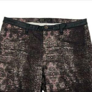 Zara Basic Snakeskin Print Pants Pink Brown Skinny